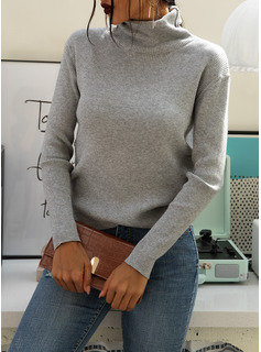 Ribbed Solid Polyester Turtleneck Pullovers Sweaters