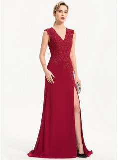 Trumpet/Mermaid V-neck Sweep Train Chiffon Evening Dress With Beading Sequins