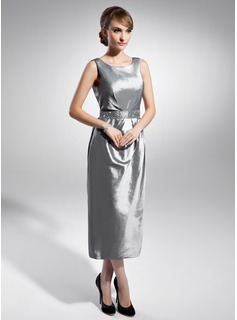 Sheath/Column Scoop Neck Tea-Length Taffeta Mother of the Bride Dress With Ruffle Beading