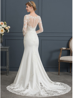Trumpet/Mermaid Scoop Neck Chapel Train Stretch Crepe Wedding Dress With Lace