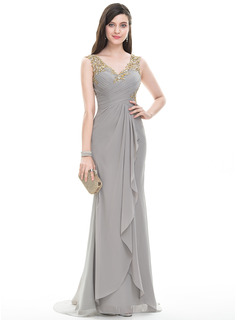 A-Line/Princess V-neck Sweep Train Chiffon Prom Dresses With Ruffle Beading Sequins