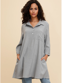 Cotton With Button/Solid Knee Length Dress