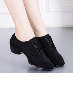 Women's Cloth Sneakers Latin Jazz Practice With Hollow-out Dance Shoes