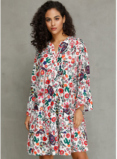 Polyester With Button/Print/Ruffles Knee Length Dress