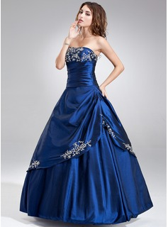 A-Line/Princess Strapless Floor-Length Taffeta Quinceanera Dress With Embroidered Ruffle Beading