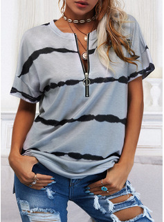 Regular Fitted Print Casual Short Sleeves