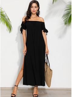 Chiffon With Solid/Slit Maxi Dress