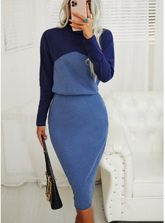 Color Block Bodycon High Neck Long Sleeves Midi Elegant Pencil Dresses