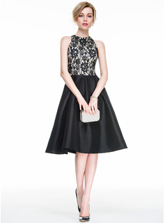 Scoop Neck Knee-Length Taffeta Lace Cocktail Dress