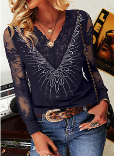 Regular Cotton Blends V-Neck Lace Sequins Solid Fitted Blouses