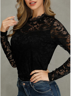 Long Sleeves Lace Round Neck Blouses