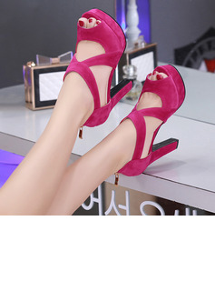 Women's Suede Chunky Heel Sandals Pumps Platform Peep Toe With Zipper Hollow-out shoes