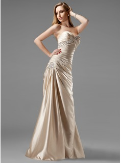 A-Line/Princess Sweetheart Sweep Train Charmeuse Prom Dresses With Ruffle Beading Sequins