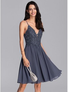 A-Line V-neck Knee-Length Chiffon Prom Dresses With Beading Sequins