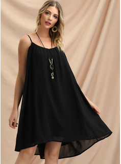 Cotton With Crumple/Solid Knee Length Dress