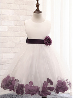 Ball Gown Knee-length Flower Girl Dress - Cotton Blends Sleeveless Scoop Neck With Flower(s) Bow(s)
