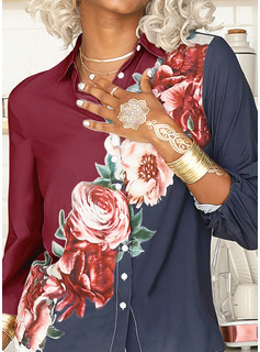 Regular Floral Print Button Up Casual 3/4 Sleeves