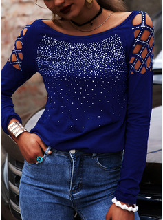Regular Cotton Blends Cold Shoulder Sequins Solid Fitted Blouses