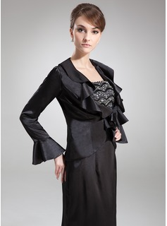 Long Sleeve Charmeuse Special Occasion Wrap