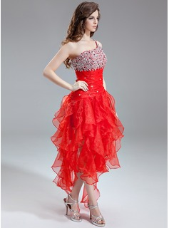 A-Line/Princess One-Shoulder Asymmetrical Organza Prom Dresses With Beading Sequins Cascading Ruffles