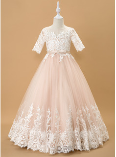 Floor-length Flower Girl Dress - Tulle Lace 1/2 Sleeves Scoop Neck With Bow(s)