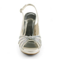 Women's Satin Cone Heel Peep Toe Platform Sandals Slingbacks With Buckle Rhinestone