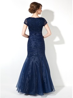 Trumpet/Mermaid V-neck Floor-Length Organza Mother of the Bride Dress With Ruffle Beading Sequins