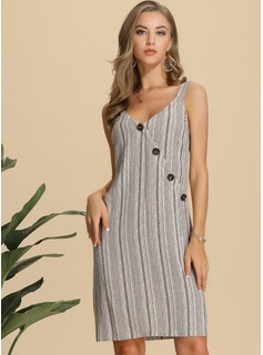 Polyester With Button/Print Knee Length Dress