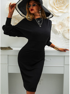 Solid Round Neck Long Sleeves Lantern Sleeve Midi Dresses