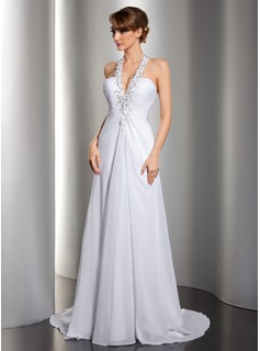 A-Line/Princess Halter Sweep Train Chiffon Wedding Dress With Ruffle Beading Appliques Lace Sequins