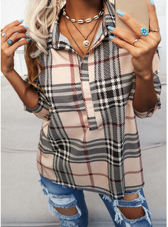 Regular Fitted Plaid Casual Long Sleeves