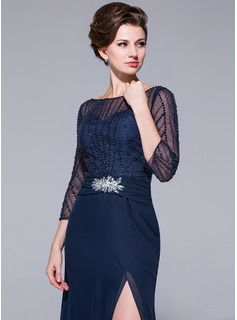 Sheath/Column Off-the-Shoulder Floor-Length Chiffon Mother of the Bride Dress With Beading Sequins Split Front