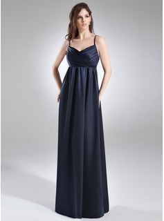 Empire V-neck Floor-Length Charmeuse Maternity Bridesmaid Dress With Ruffle