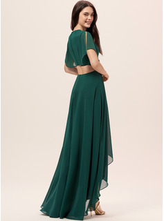 Scoop Neck Dark Green Chiffon Dresses