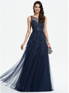 A-Line Scoop Neck Sweep Train Tulle Prom Dresses With Lace Beading