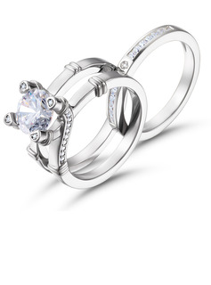 Knot Two Tone Round Cut 925 Silver Bridal Sets