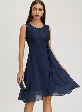 Chiffon With Lace Knee Length Dress (199206863)
