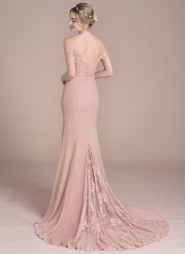 Trumpet/Mermaid Off-the-Shoulder Court Train Chiffon Lace Prom Dress With Beading Sequins (018116381)