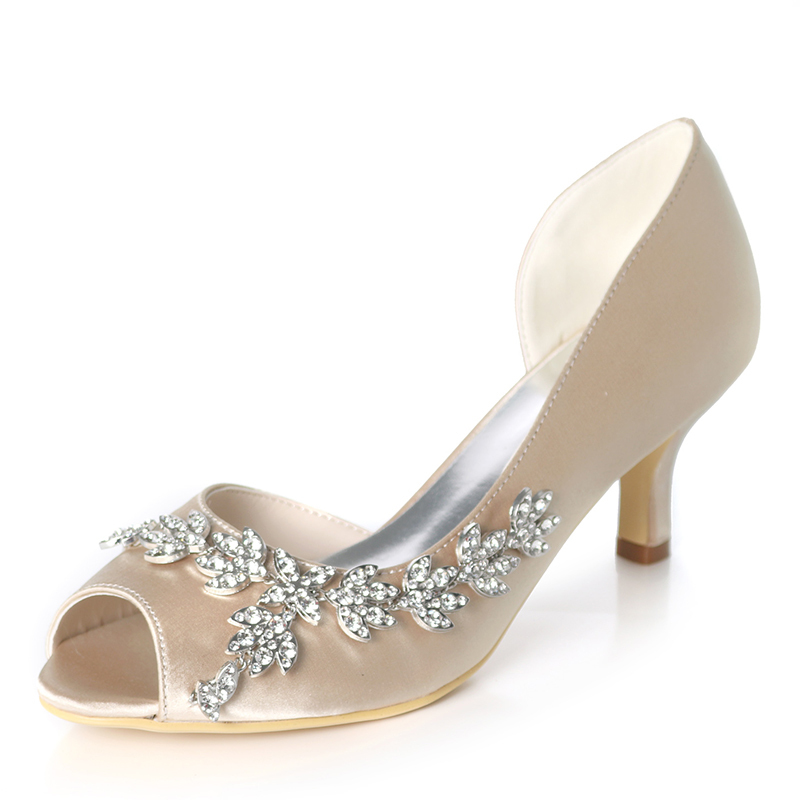 Women's Silk Like Satin Stiletto Heel Peep Toe Pumps With Rhinestone