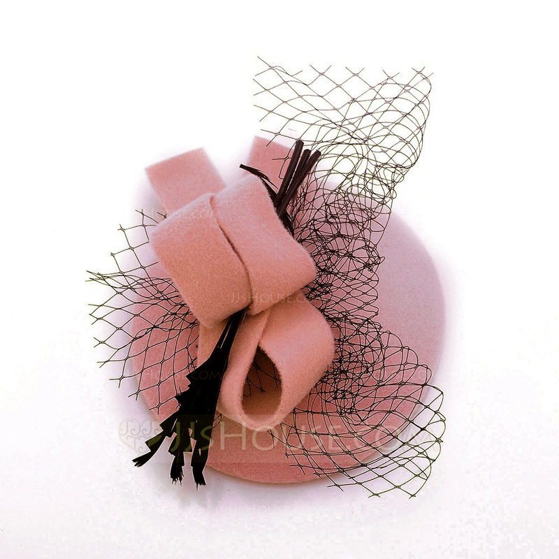 Ladies' Elegant Wool With Tulle Beret Hats/Tea Party Hats