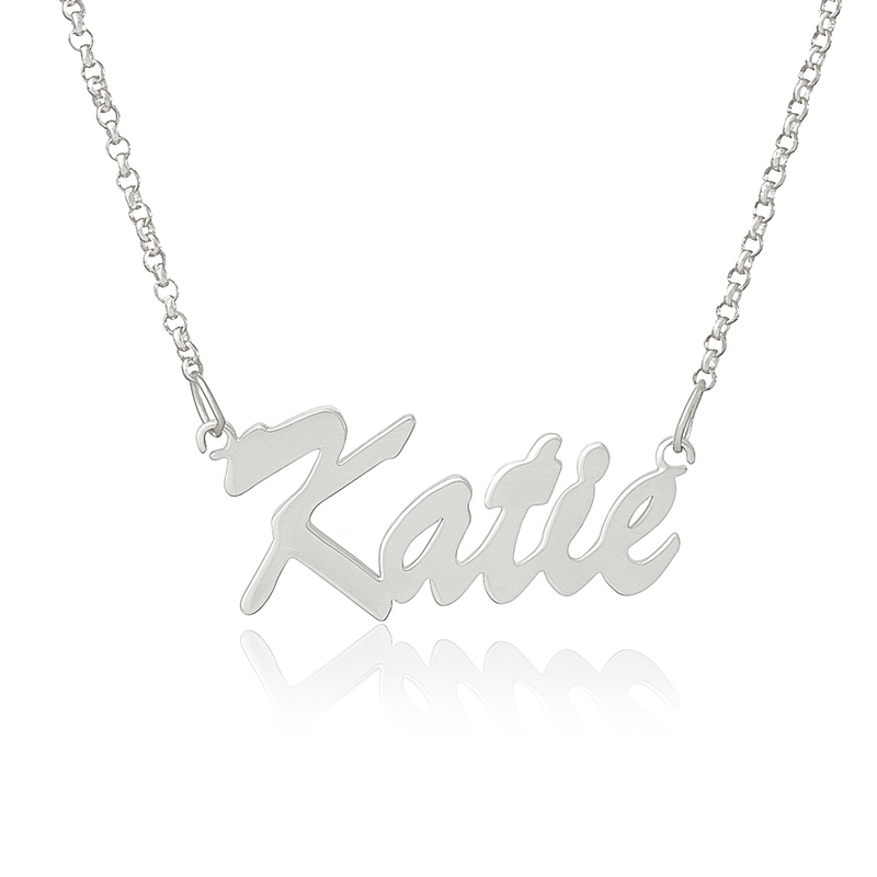 Custom Silver Letter Vintage Name Necklace - Birthday Gifts Mother's Day Gifts