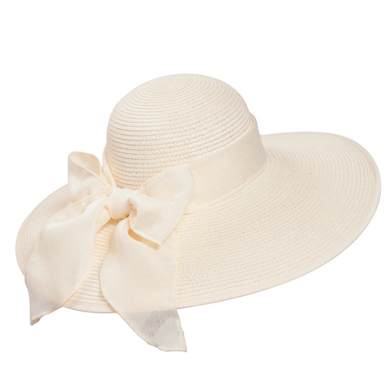 Ladies' Beautiful Rattan Straw With Bowknot Floppy Hats/Straw Hats/Tea Party Hats