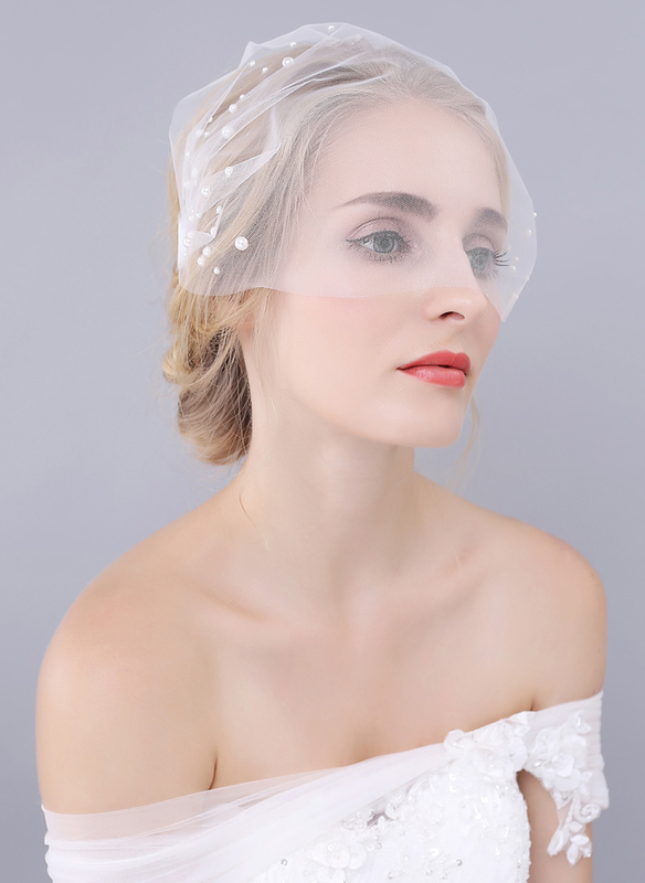 One-tier Cut Edge Birdcage Veils With Faux Pearl