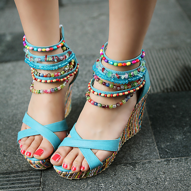 Women's Leatherette Wedge Heel Sandals With Imitation Pearl Zipper shoes