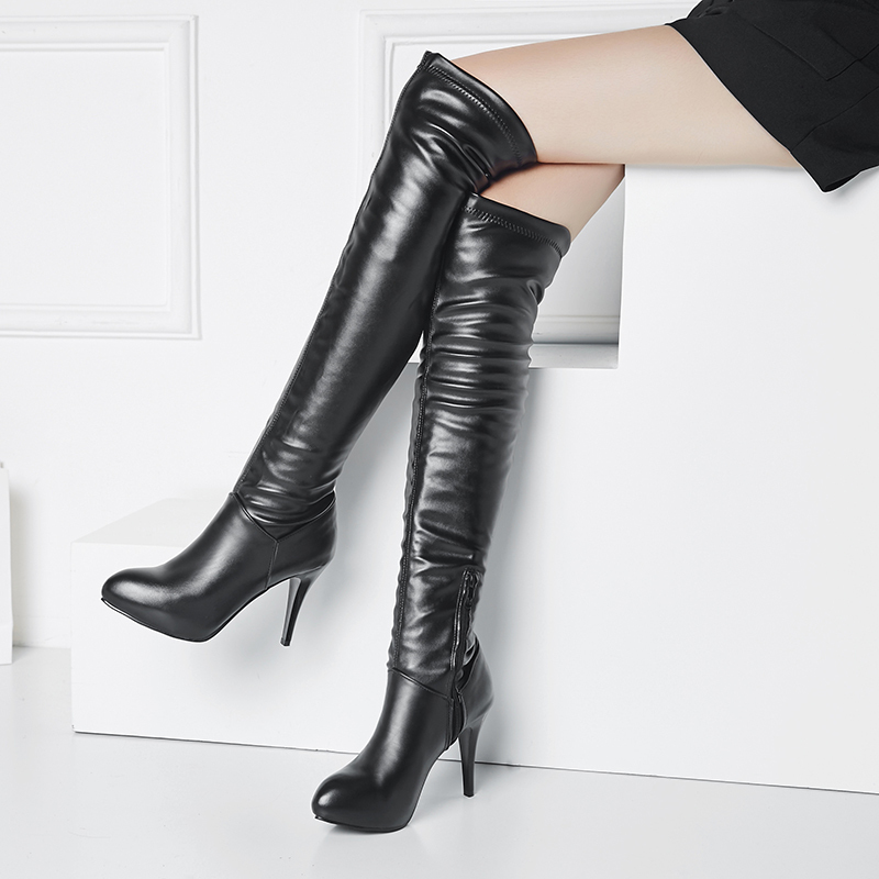 Kvinnor PU Stilettklack Pumps Plattform Over The Knee Boots med Zipper skor