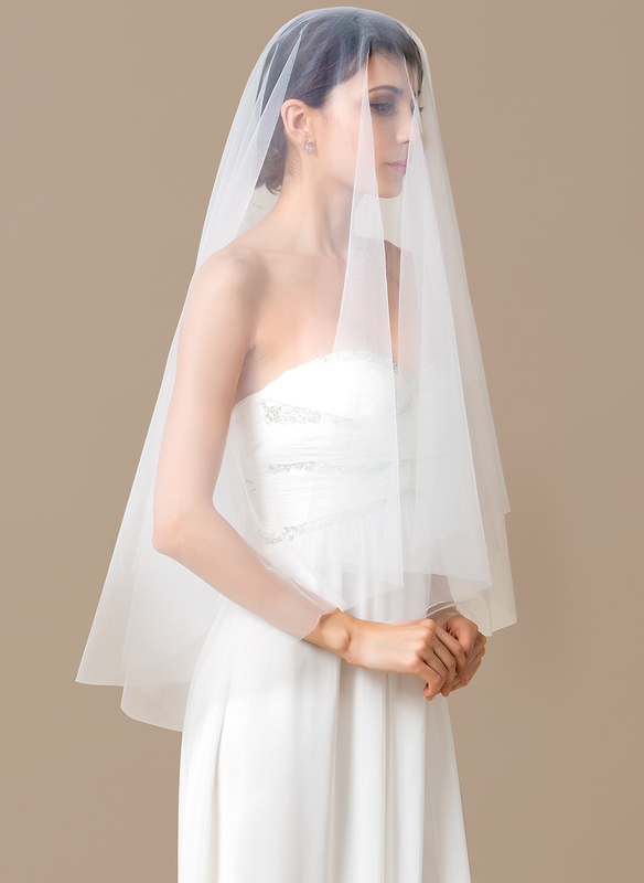 One-tier Waltz Bridal Veils With Cut Edge