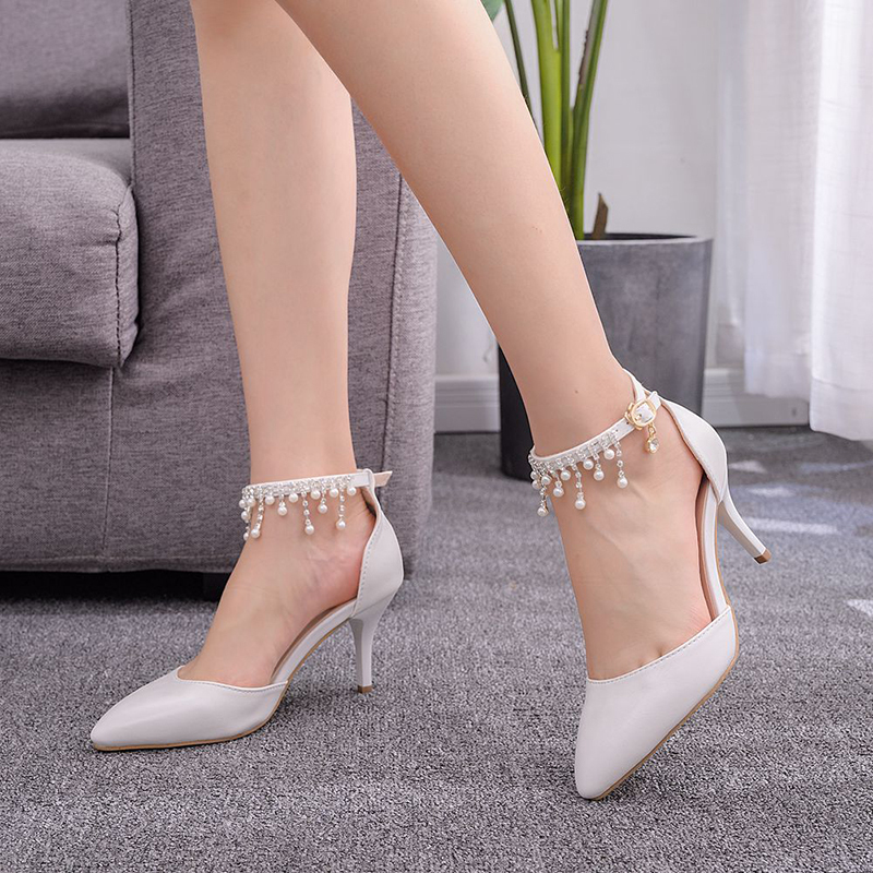 Women's Leatherette Stiletto Heel Closed Toe Pumps Sandals MaryJane With Imitation Pearl Tassel Chain