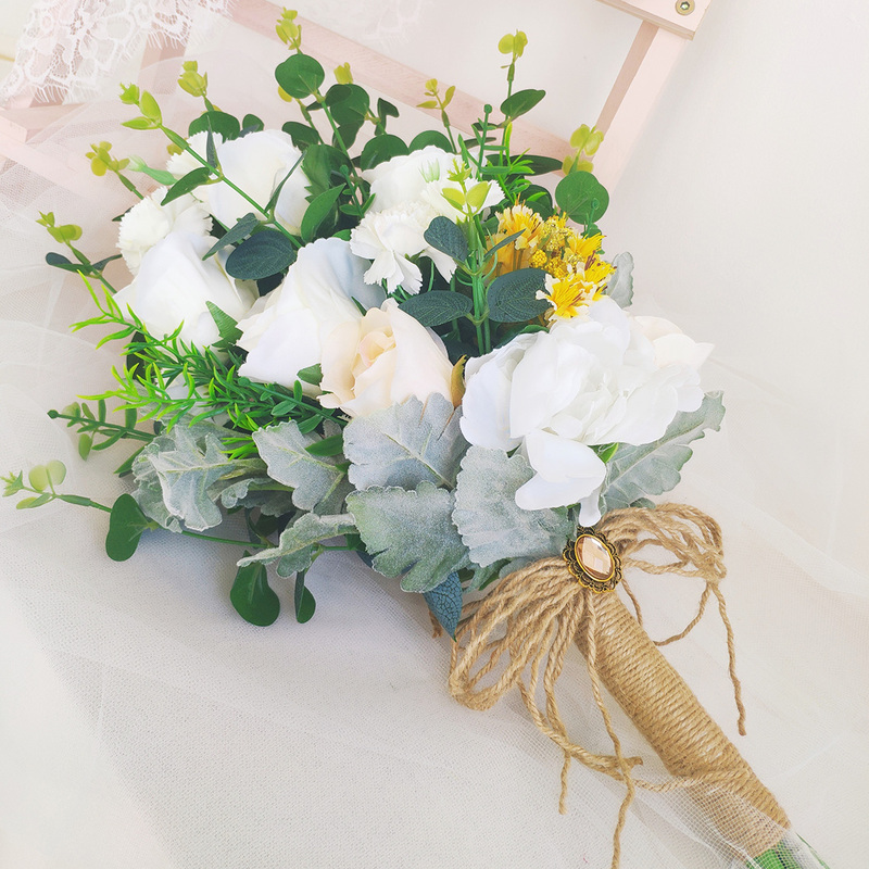 Classic Hand-tied Emulational Berries/Rhinestone/Linen Rope/Artificial Flower Bridal Bouquets/Bridesmaid Bouquets (Sold in a single piece) - Bridal Bouquets/Bridesmaid Bouquets