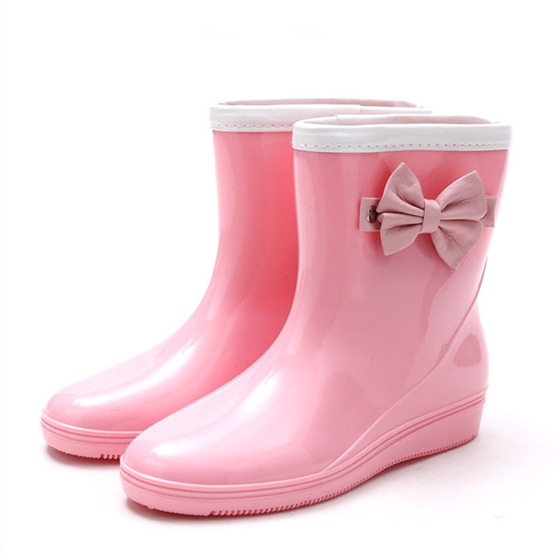 Women's PVC Wedge Heel Wedges Boots Rain Boots With Bowknot shoes