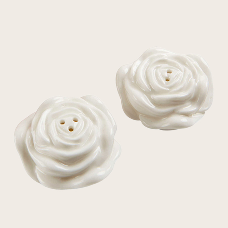 Flower Design Ceramic Salt & Pepper Shakers (Set of 2)